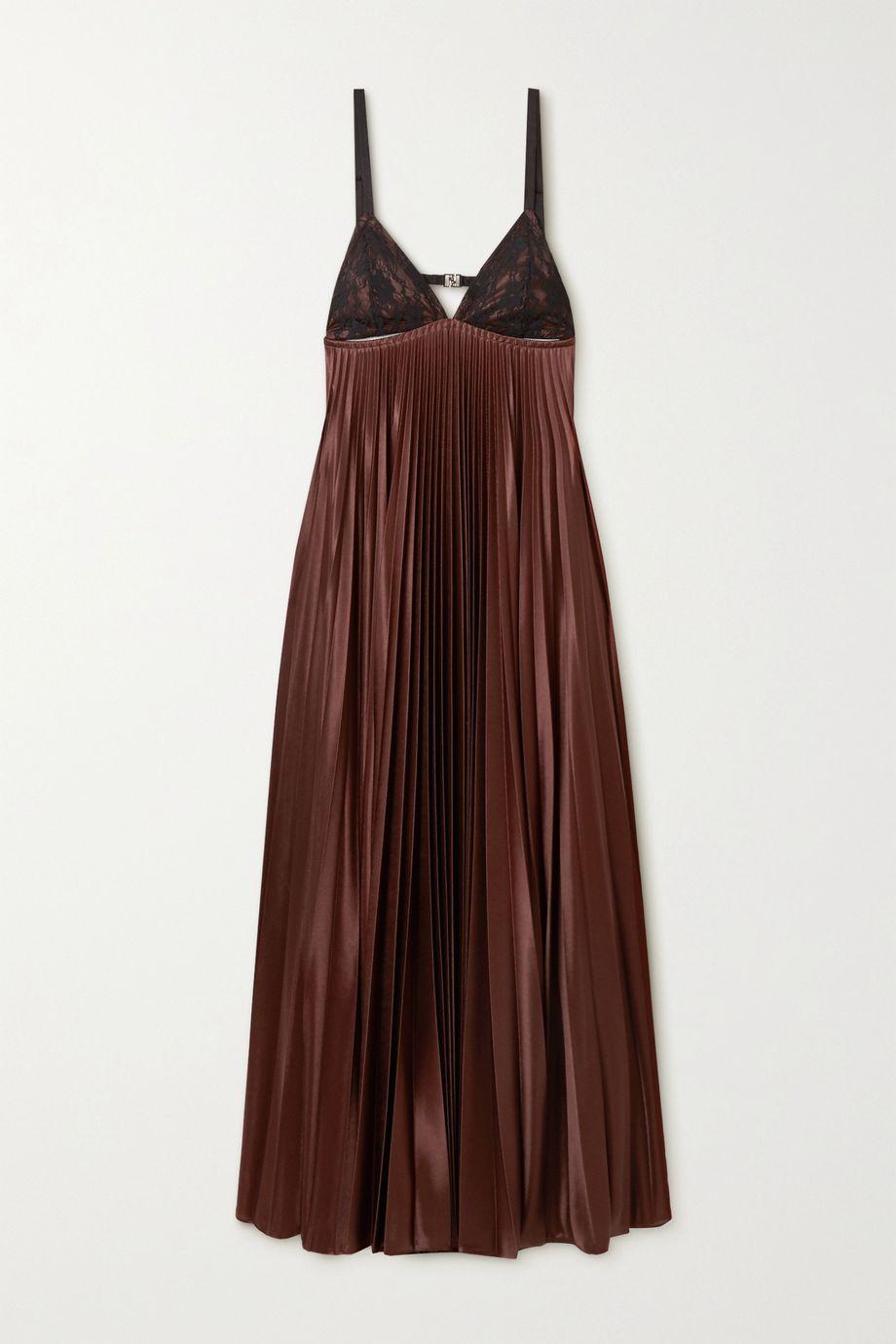 Christopher Kane Cutout lace-paneled pleated satin maxi dress
