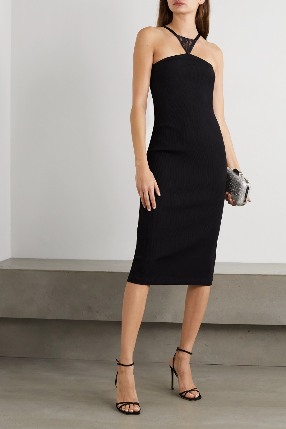 Christopher Kane Lace-paneled ribbed stretch-jersey midi dress