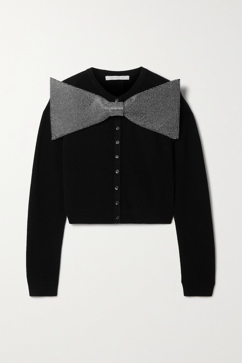 Christopher Kane Cropped crystal-embellished merino wool and cashmere-blend cardigan