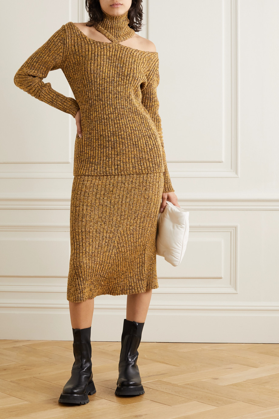 Christopher Kane Cutout ribbed wool turtleneck sweater