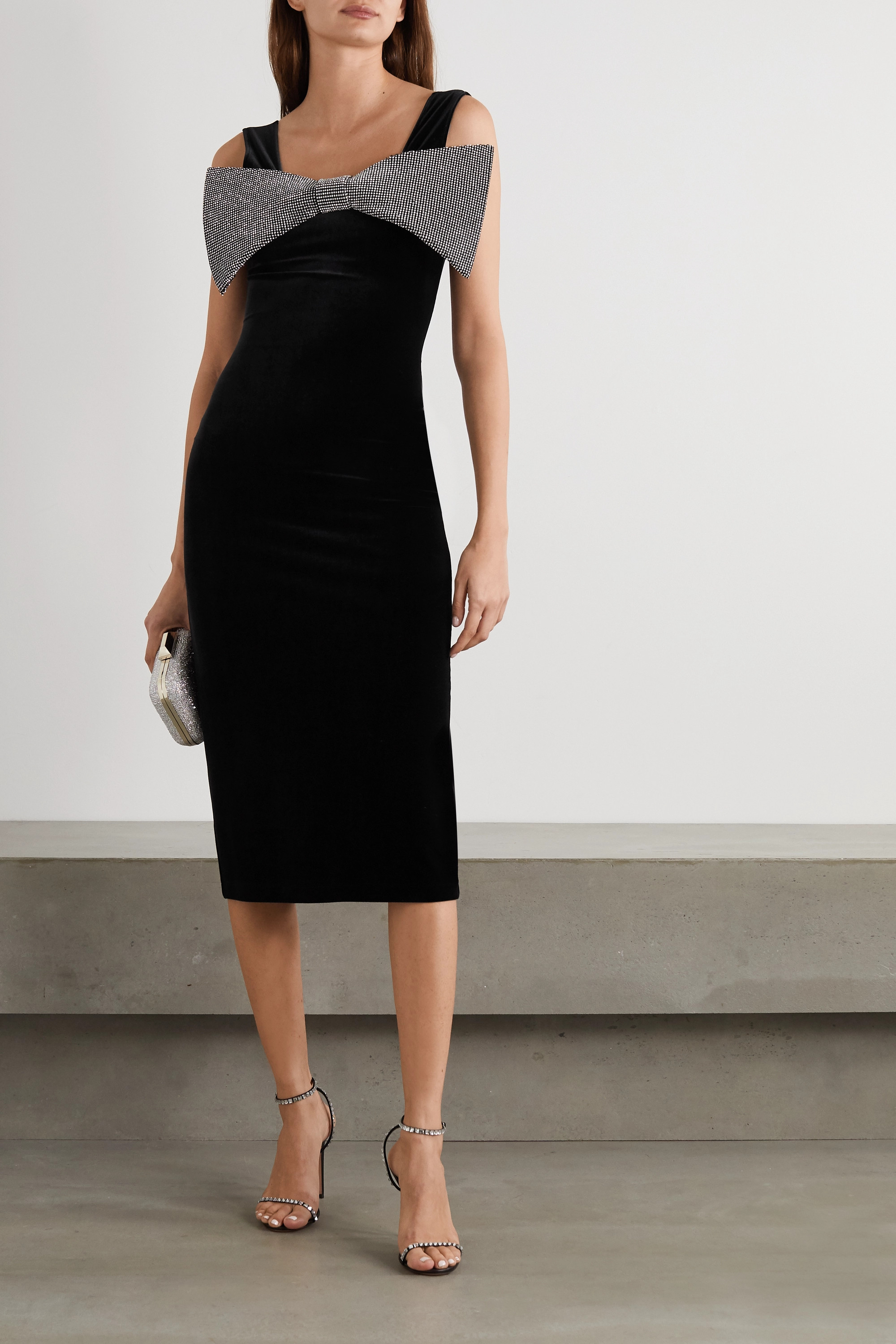 Christopher Kane Crystal-embellished stretch-velvet midi dress