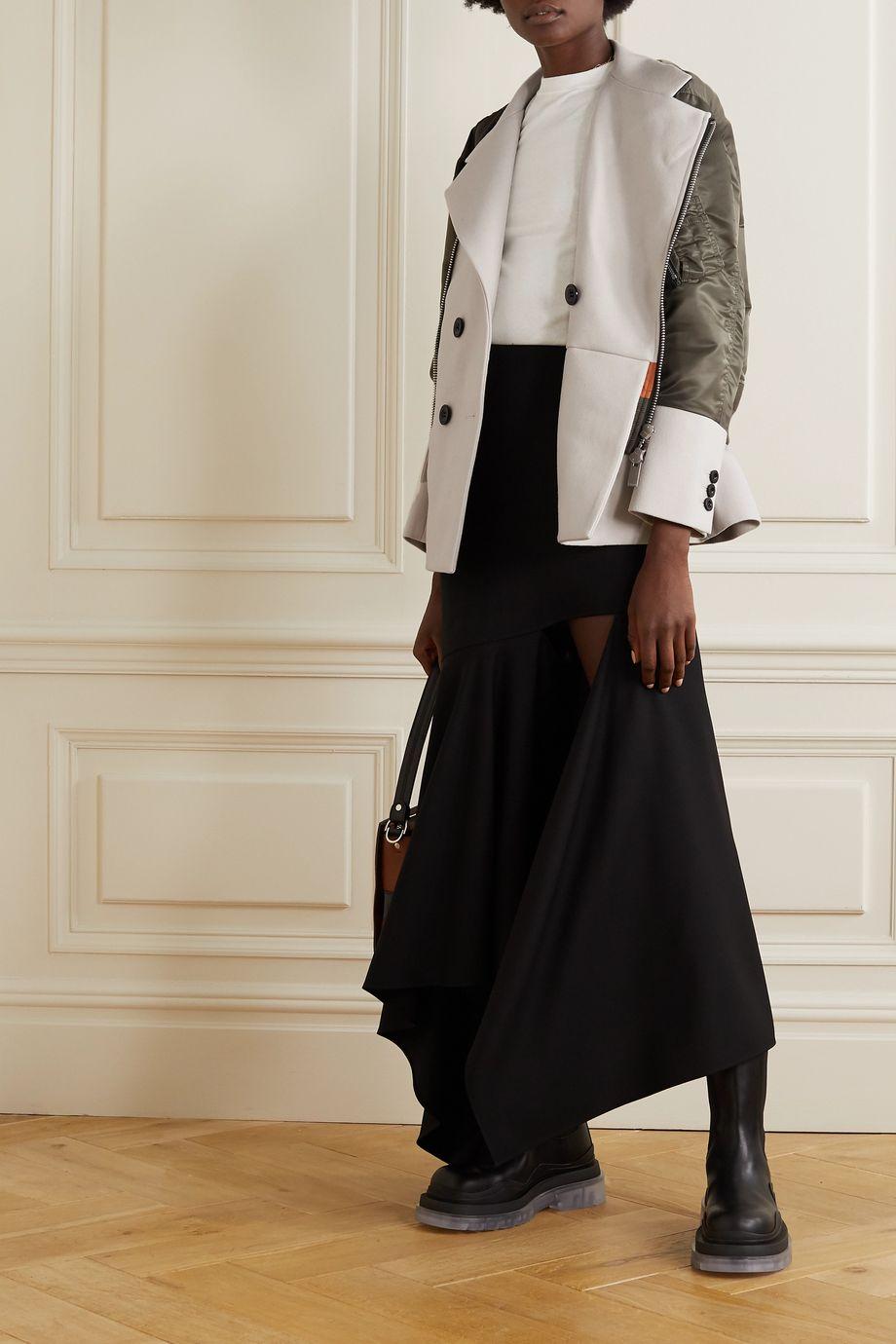 Sacai Mehrlagige Jacke aus Shell und Twill aus einer Baumwollmischung