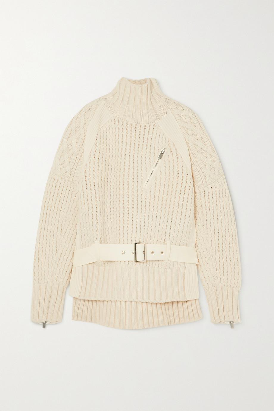 Sacai Pullover aus Wolle in Zopfstrick und Filz mit Gürtel