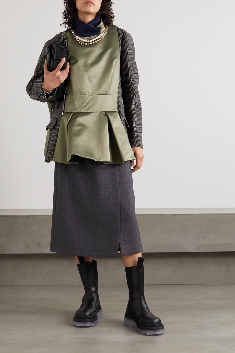 Sacai Embellished leather-trimmed checked wool-blend and satin jacket