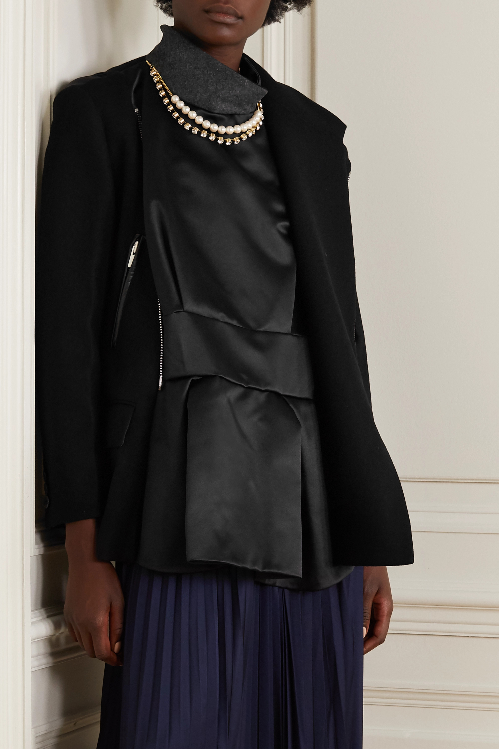 Sacai Leather-trimmed embellished paneled wool and shell jacket