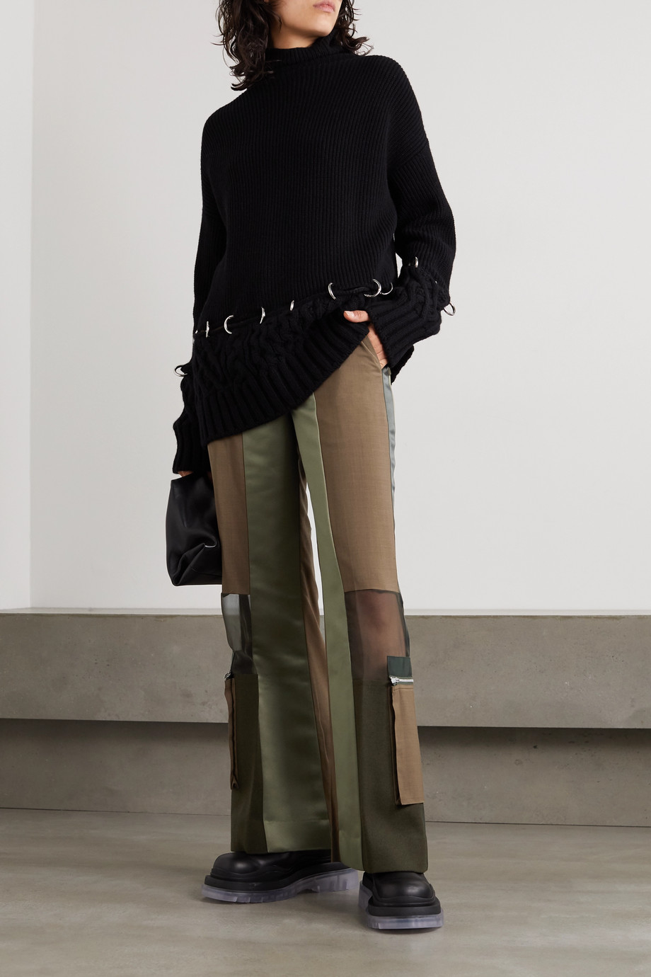 Sacai Paneled grosgrain-trimmed wool, satin and chiffon straight-leg pants