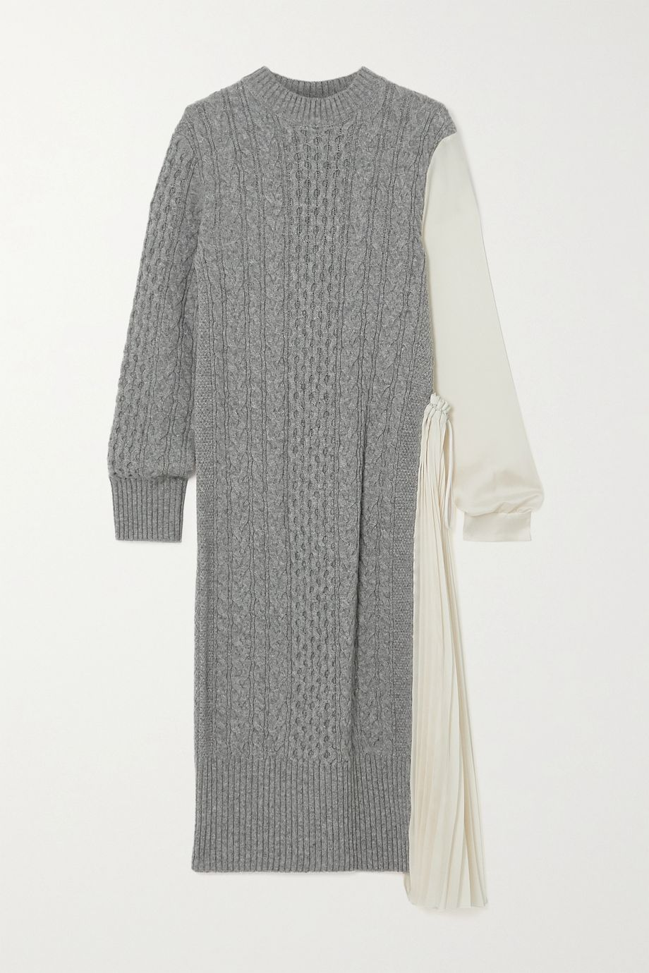 Sacai Midikleid aus Wolle und plissiertem Crêpe de Chine