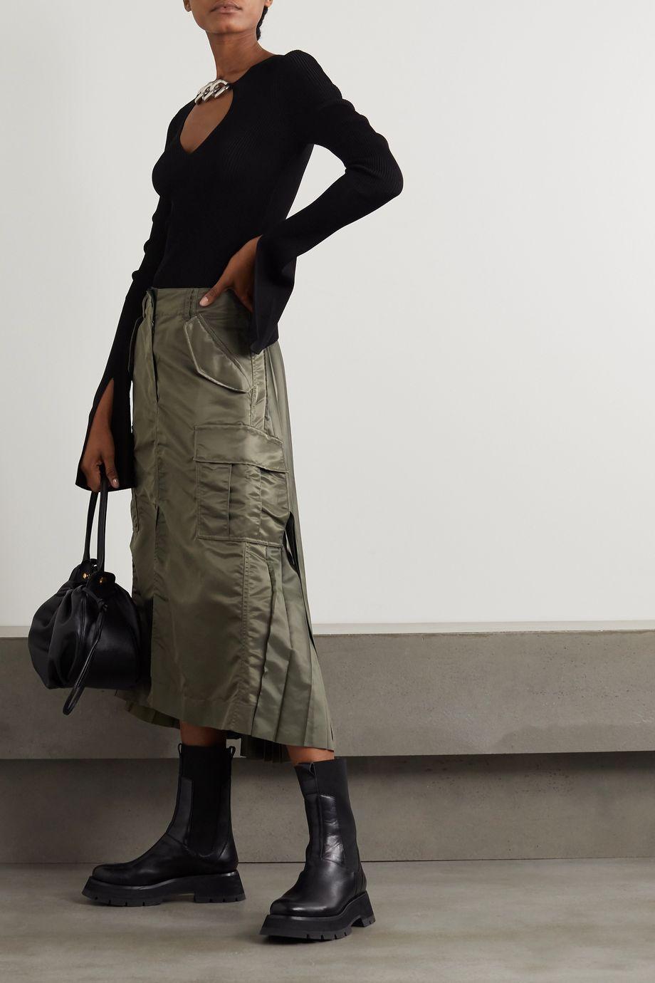 Sacai Pleated shell and chiffon midi skirt