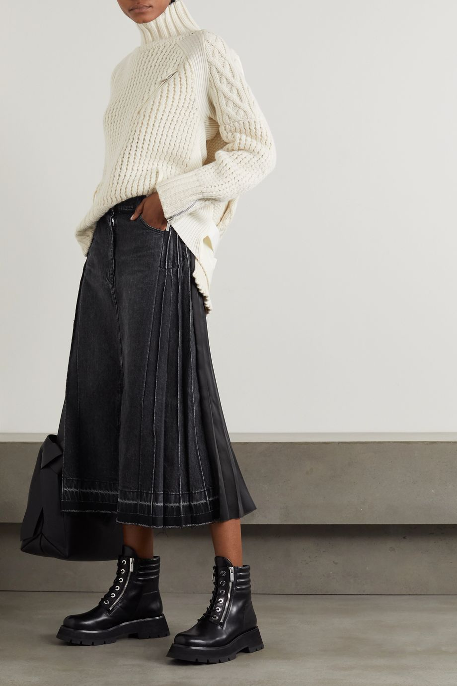 Sacai Pleated denim and chiffon midi skirt