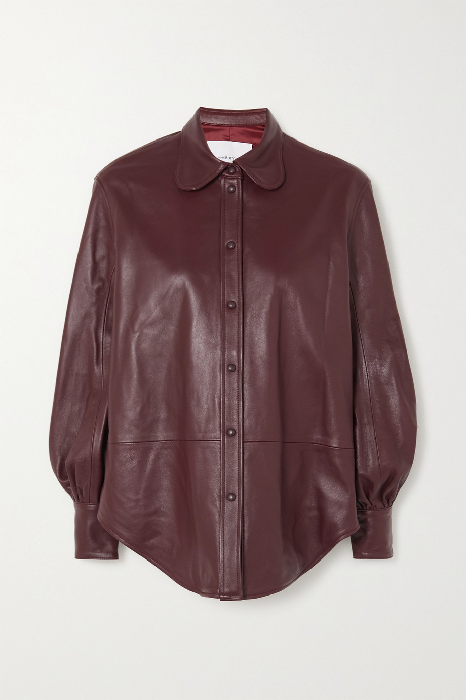 Pushbutton Paneled leather shirt