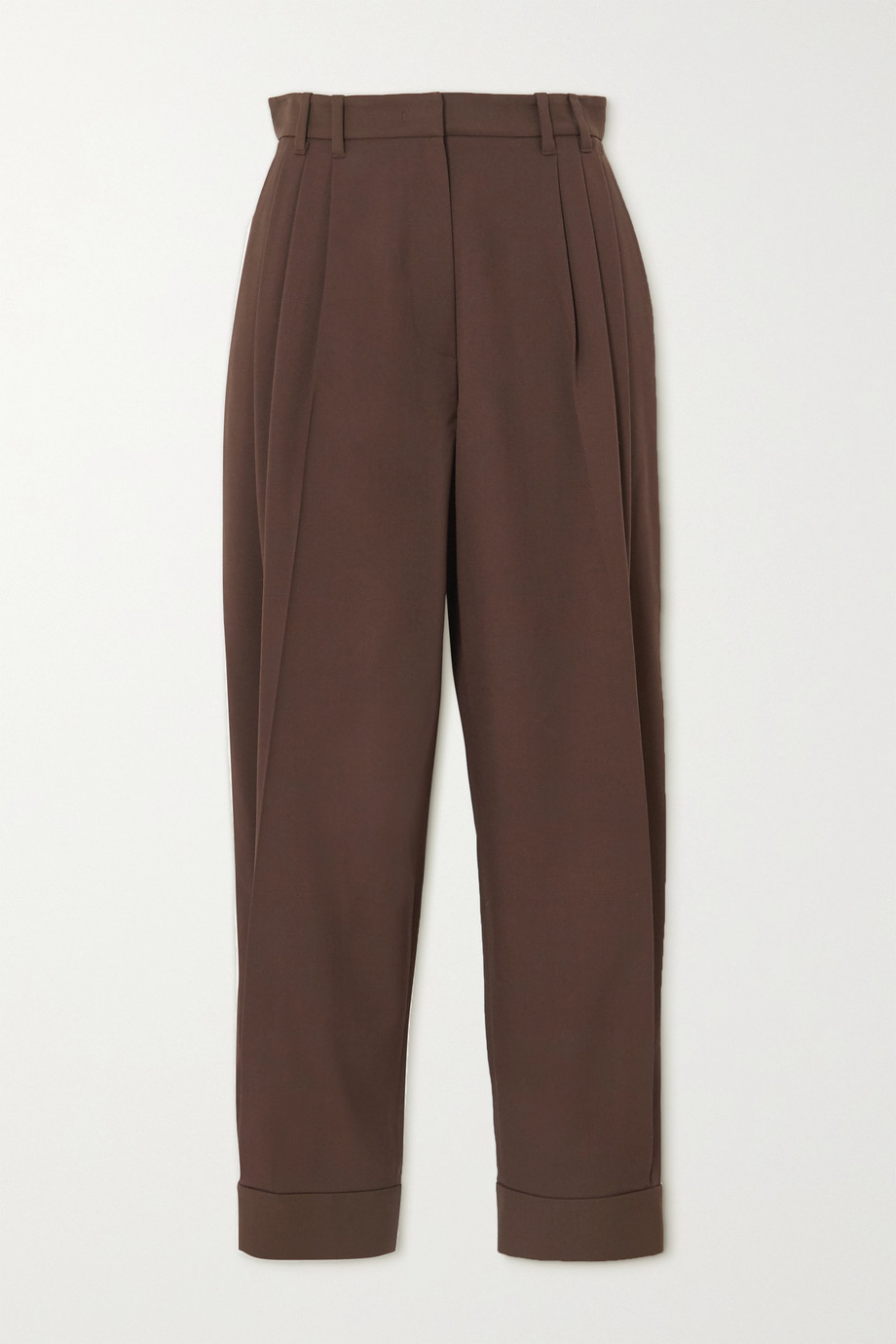 Pushbutton Pleated wool-blend twill tapered pants