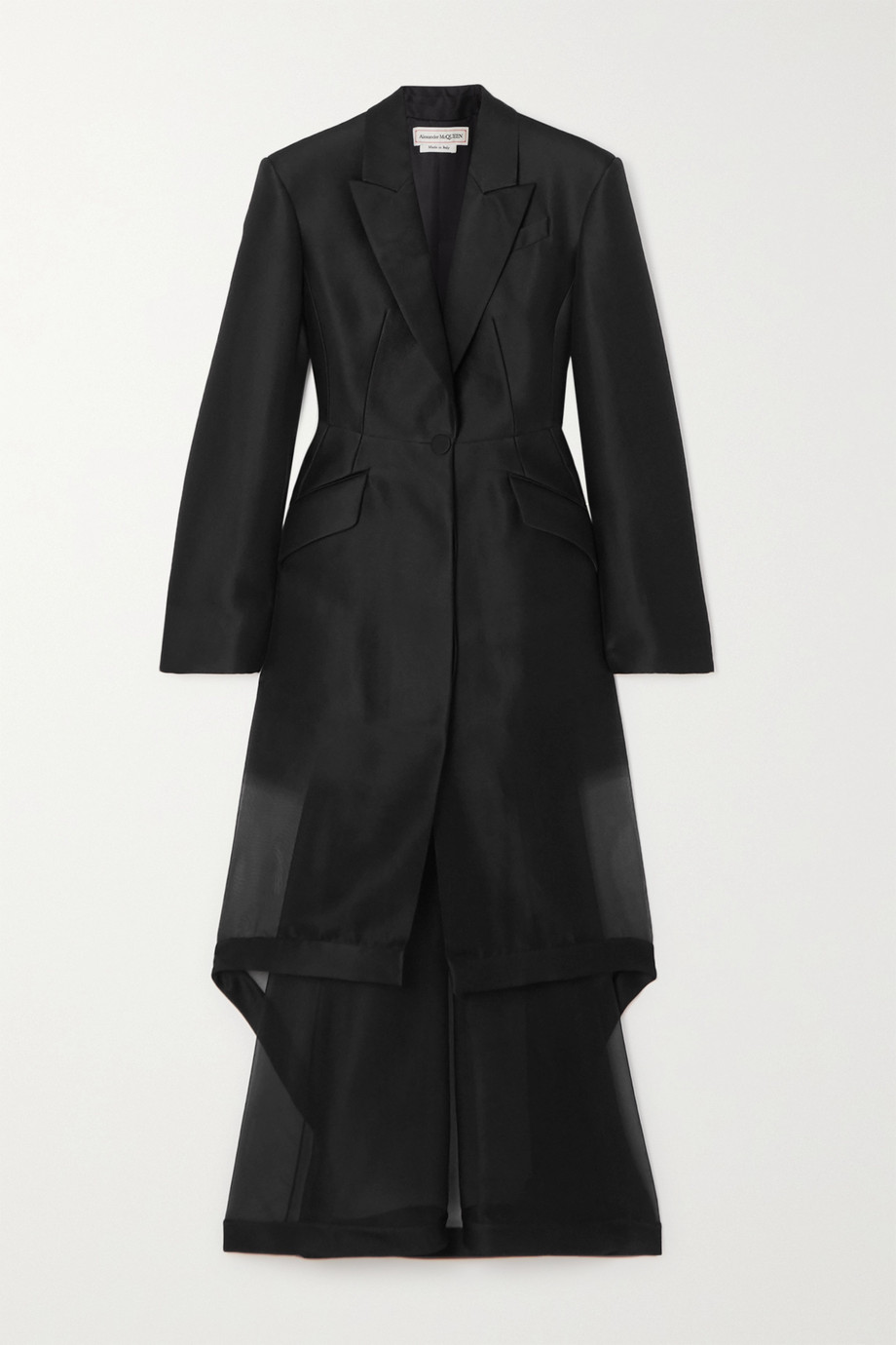 Alexander McQueen Layered asymmetric wool and silk-blend organza coat