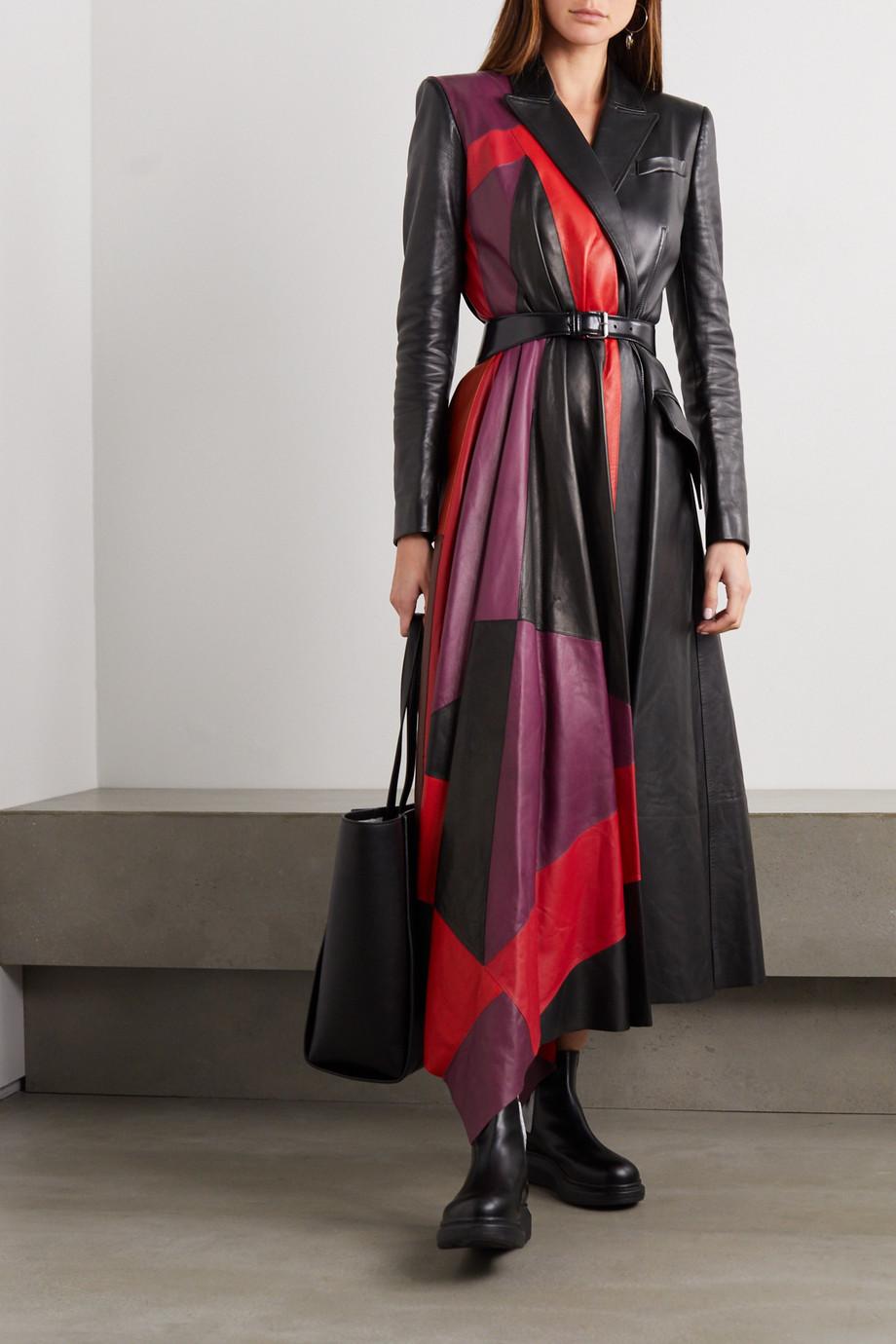 Alexander McQueen Asymmetric color-block leather coat