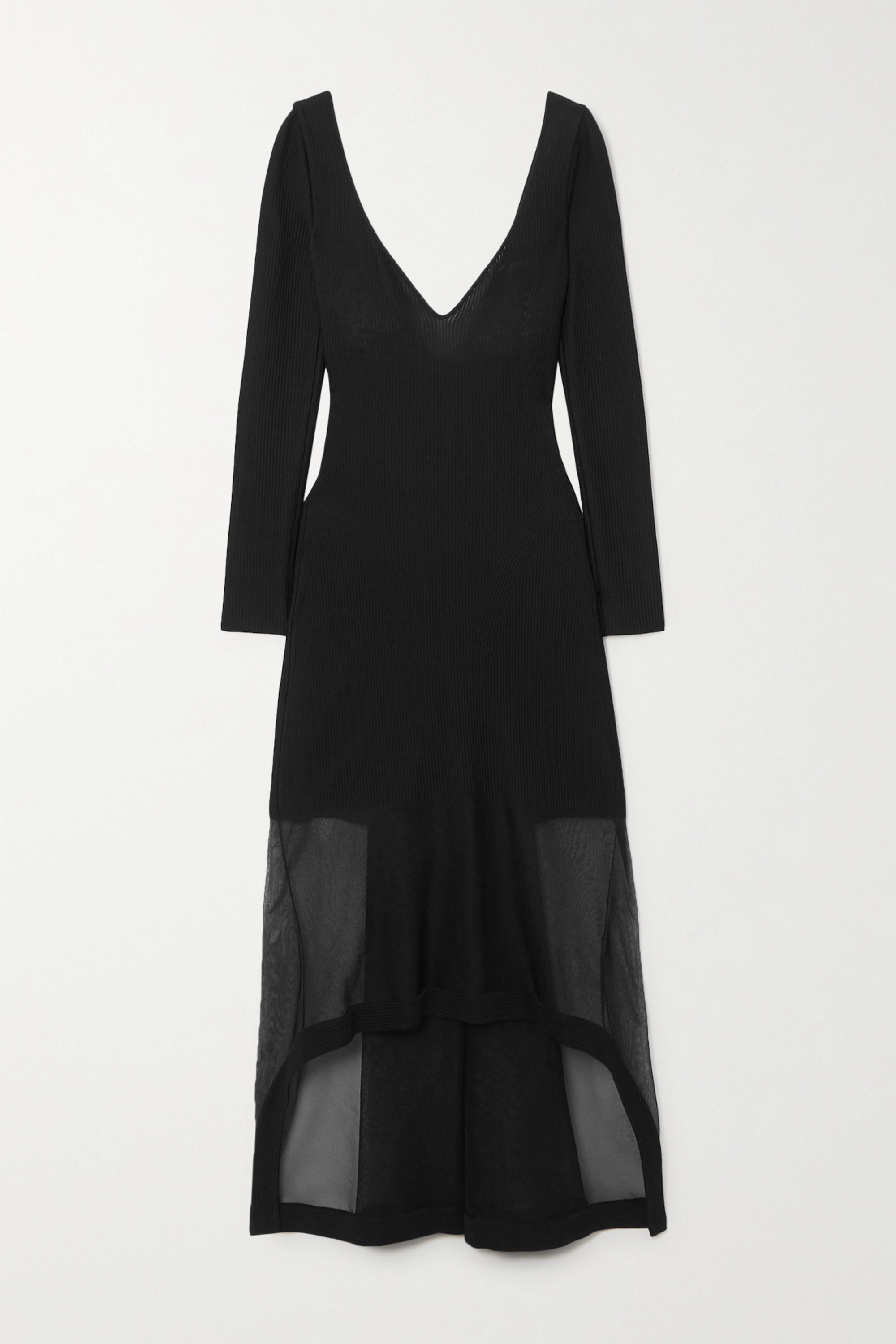Alexander McQueen Layered ribbed-knit and silk-blend tulle dress