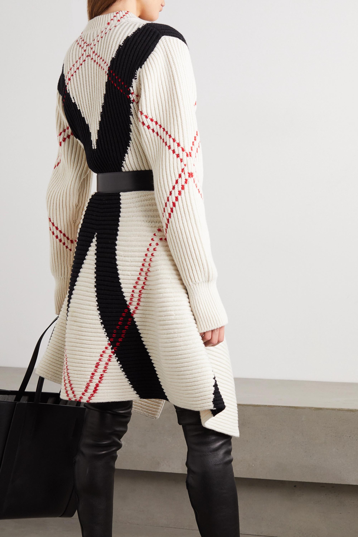 Alexander McQueen Asymmetric argyle ribbed wool and cashmere-blend dress