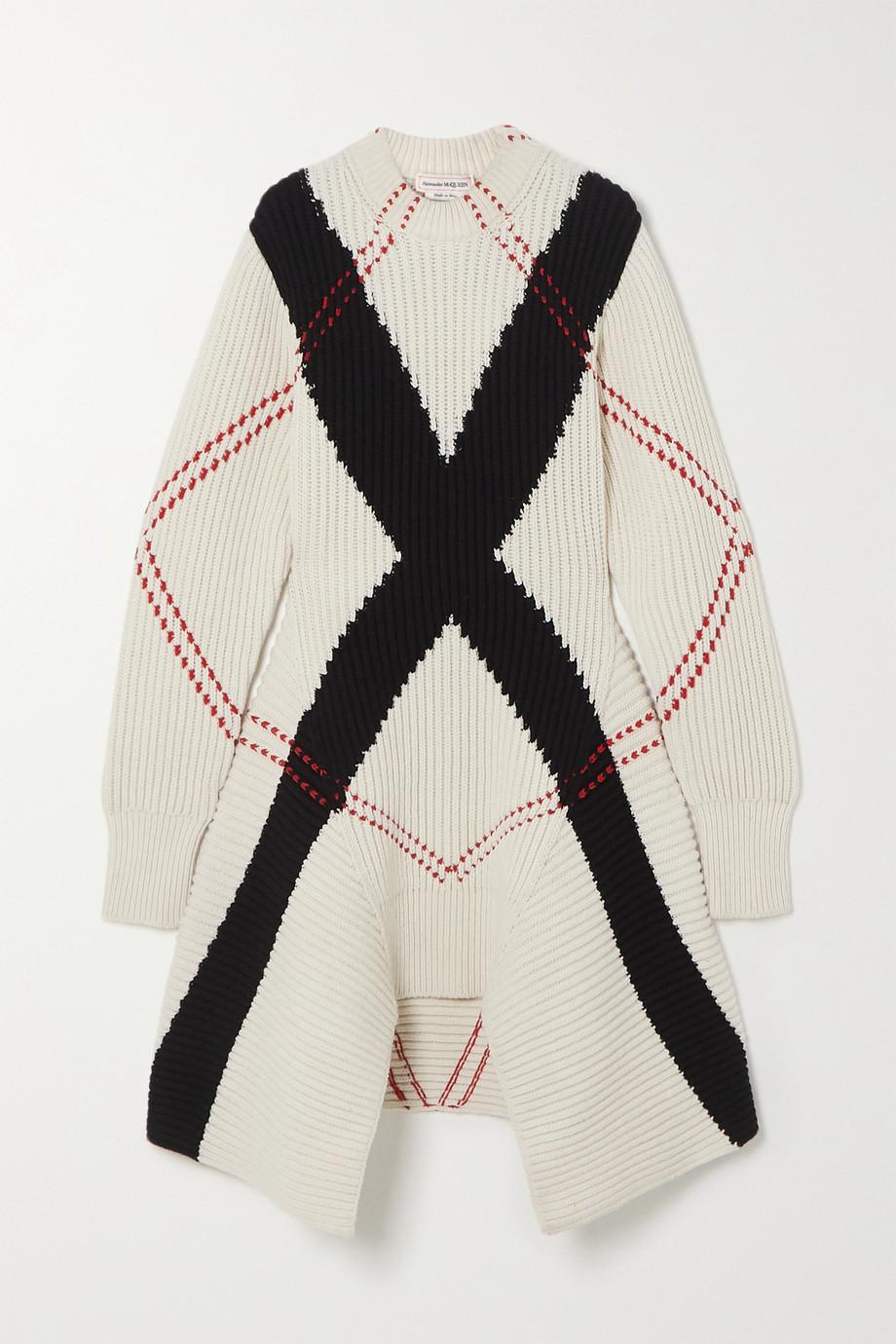 Alexander McQueen Asymmetrisches Kleid aus einer gerippten Woll-Kaschmirmischung mit Argyle-Muster