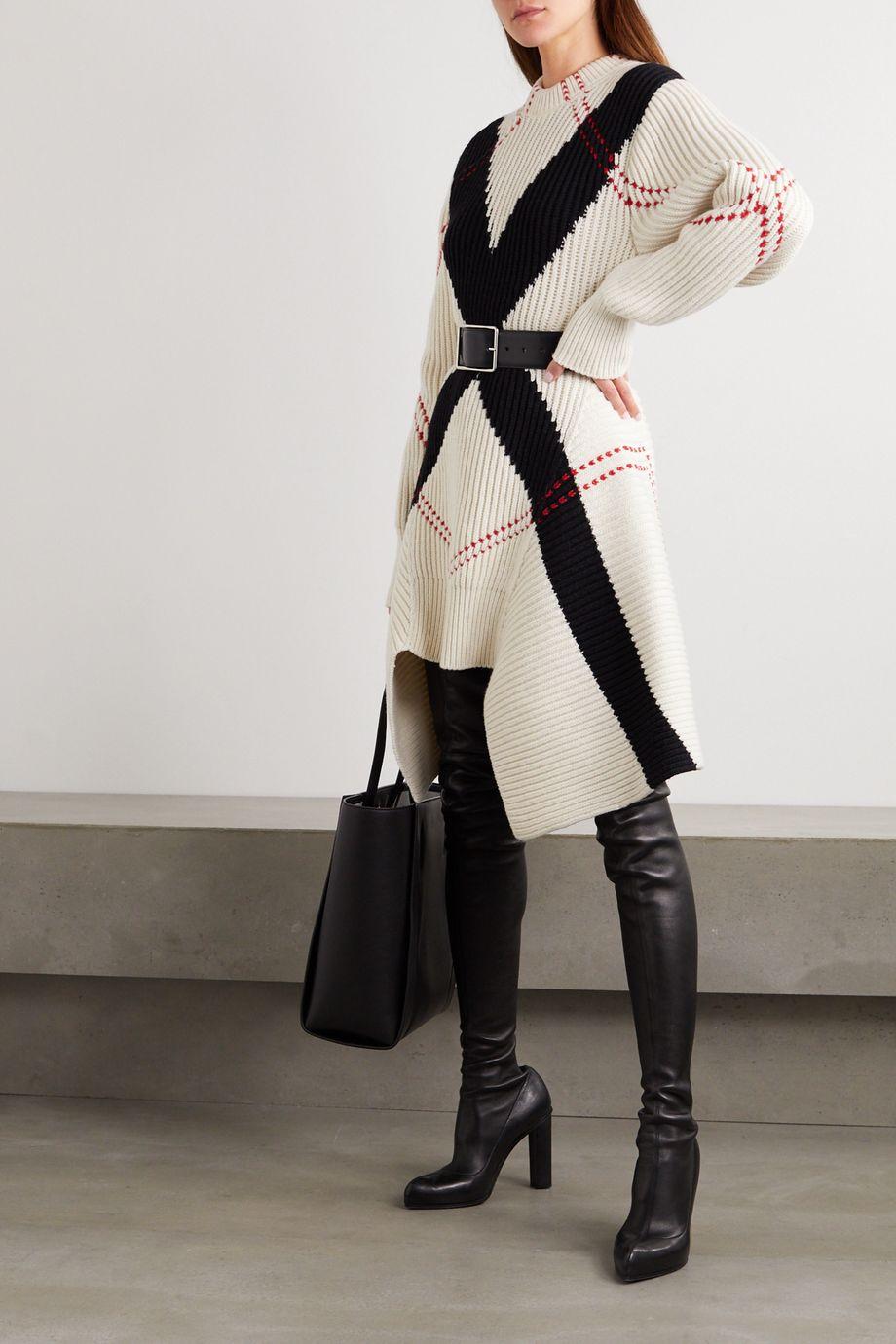 Alexander McQueen Robe asymétrique en laine et cachemire mélangés côtelés à motif jacquard