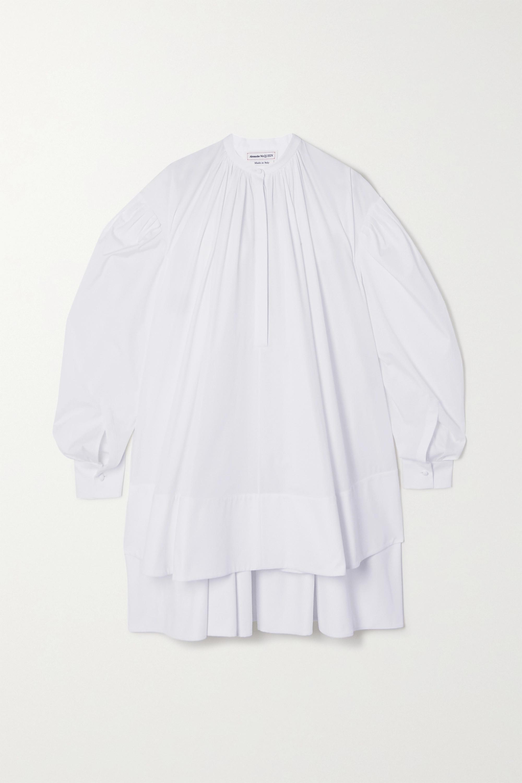 Alexander McQueen Mini-robe oversize asymétrique en popeline de coton à plis