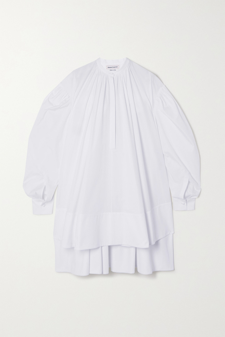 Alexander McQueen Oversized asymmetric pleated cotton-poplin mini dress