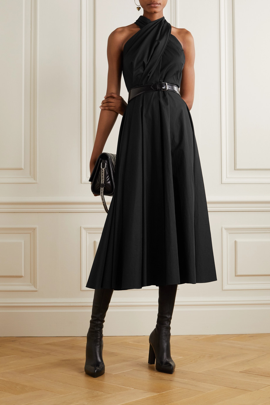 Alexander McQueen Pleated cotton-poplin halterneck maxi dress