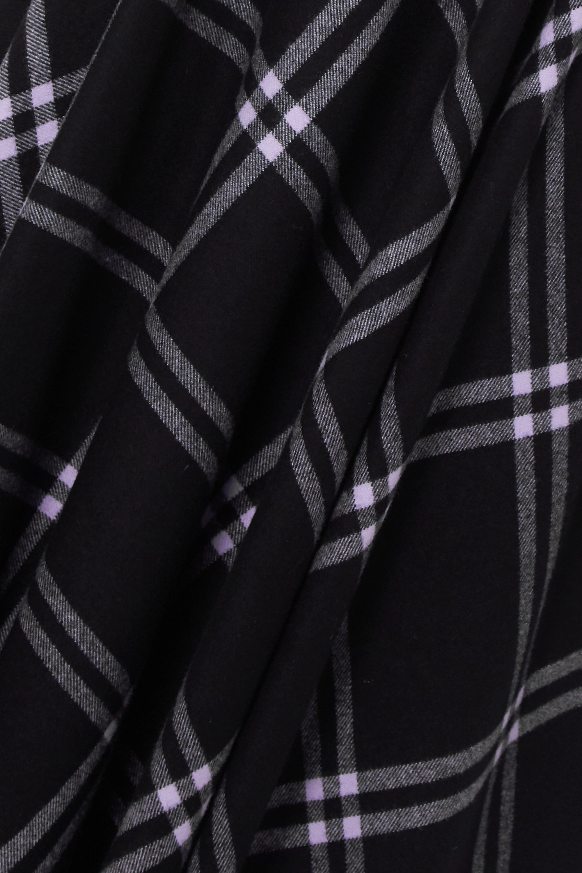 Alexander McQueen Asymmetric checked wool and cashmere-blend and leather dress