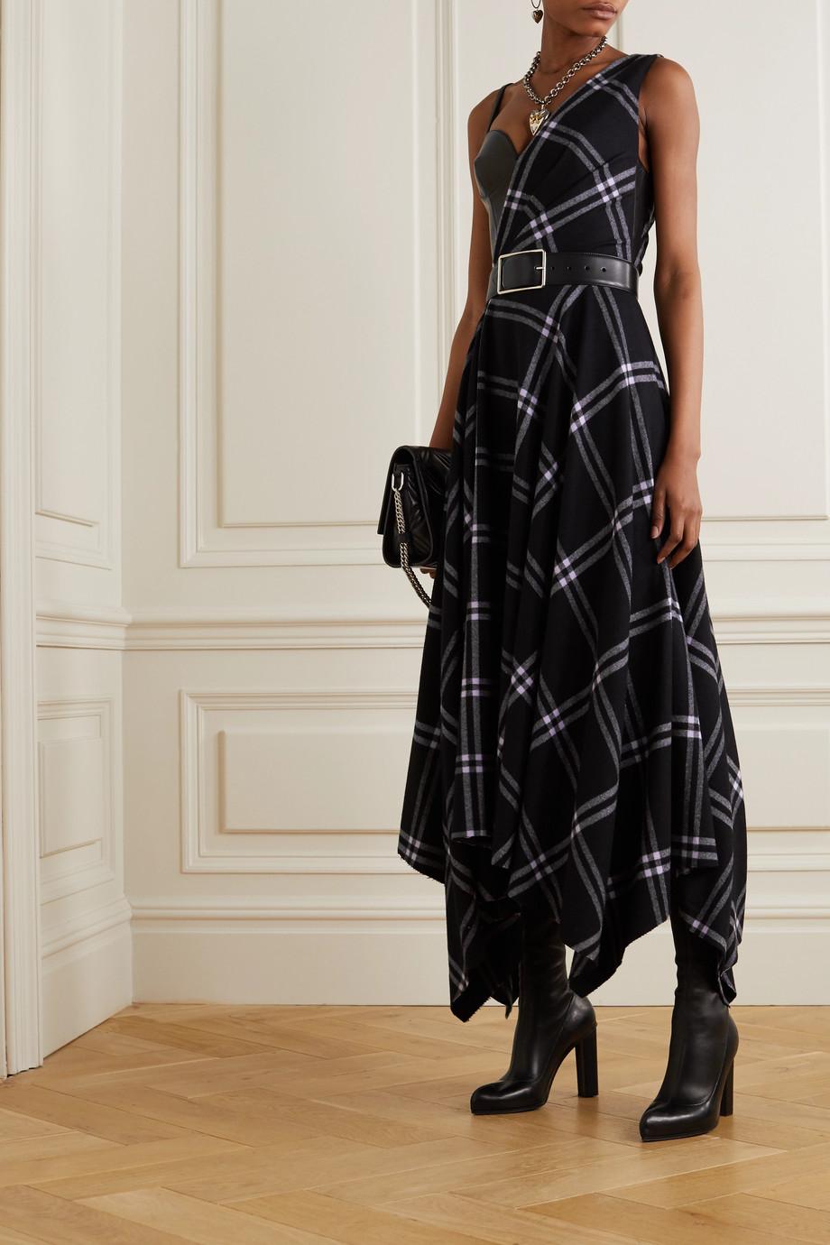 Alexander McQueen Asymmetrisches Kleid aus einer karierten Woll-Kaschmirmischung und Leder