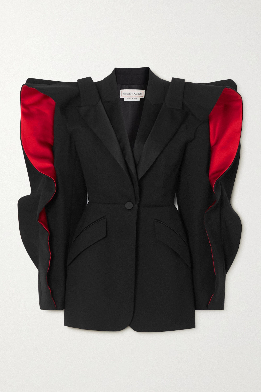 Alexander McQueen Ruffled layered satin-trimmed wool-blend crepe blazer