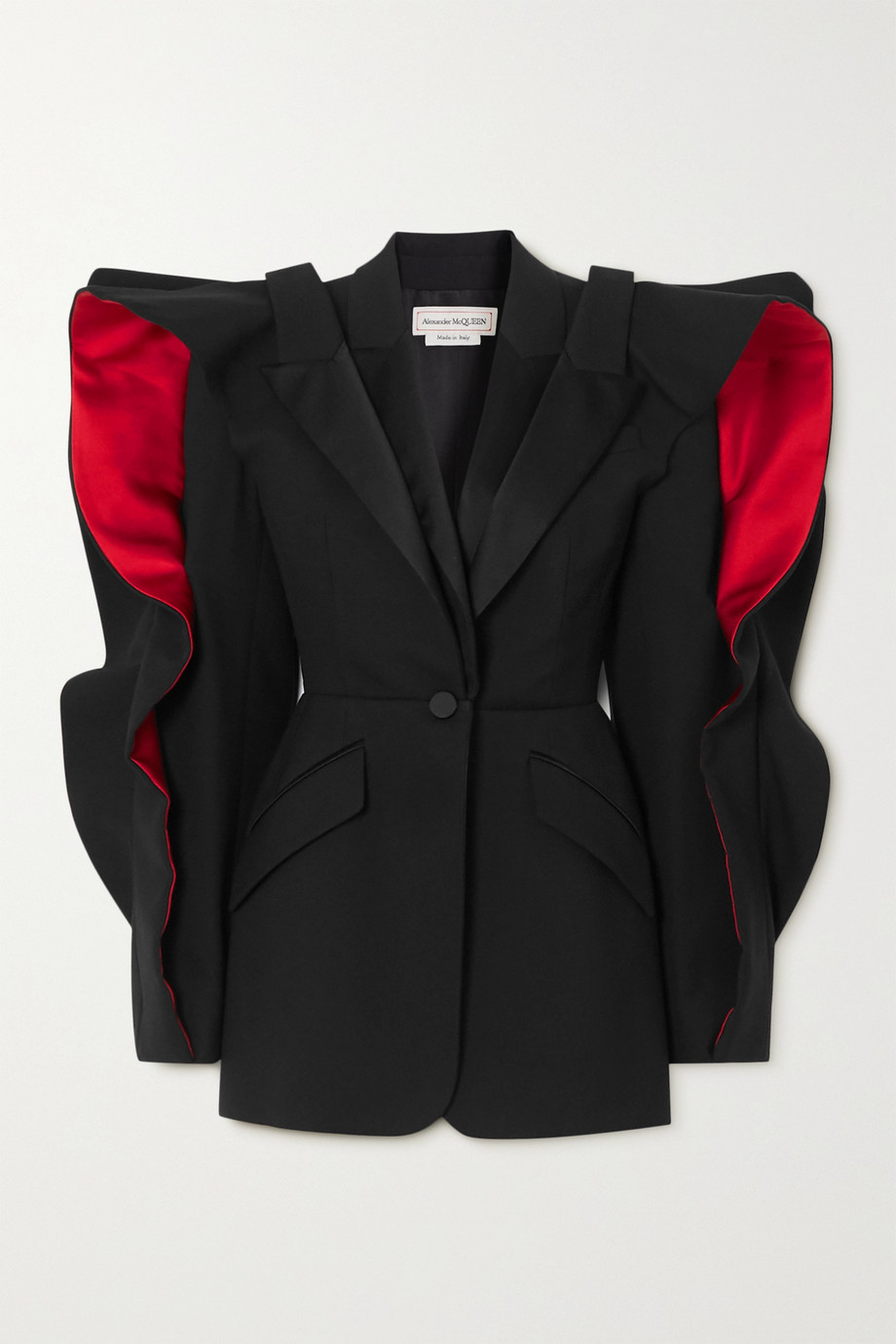 Alexander McQueen Ruffled layered satin-trimmed wool-blend crepe blazer