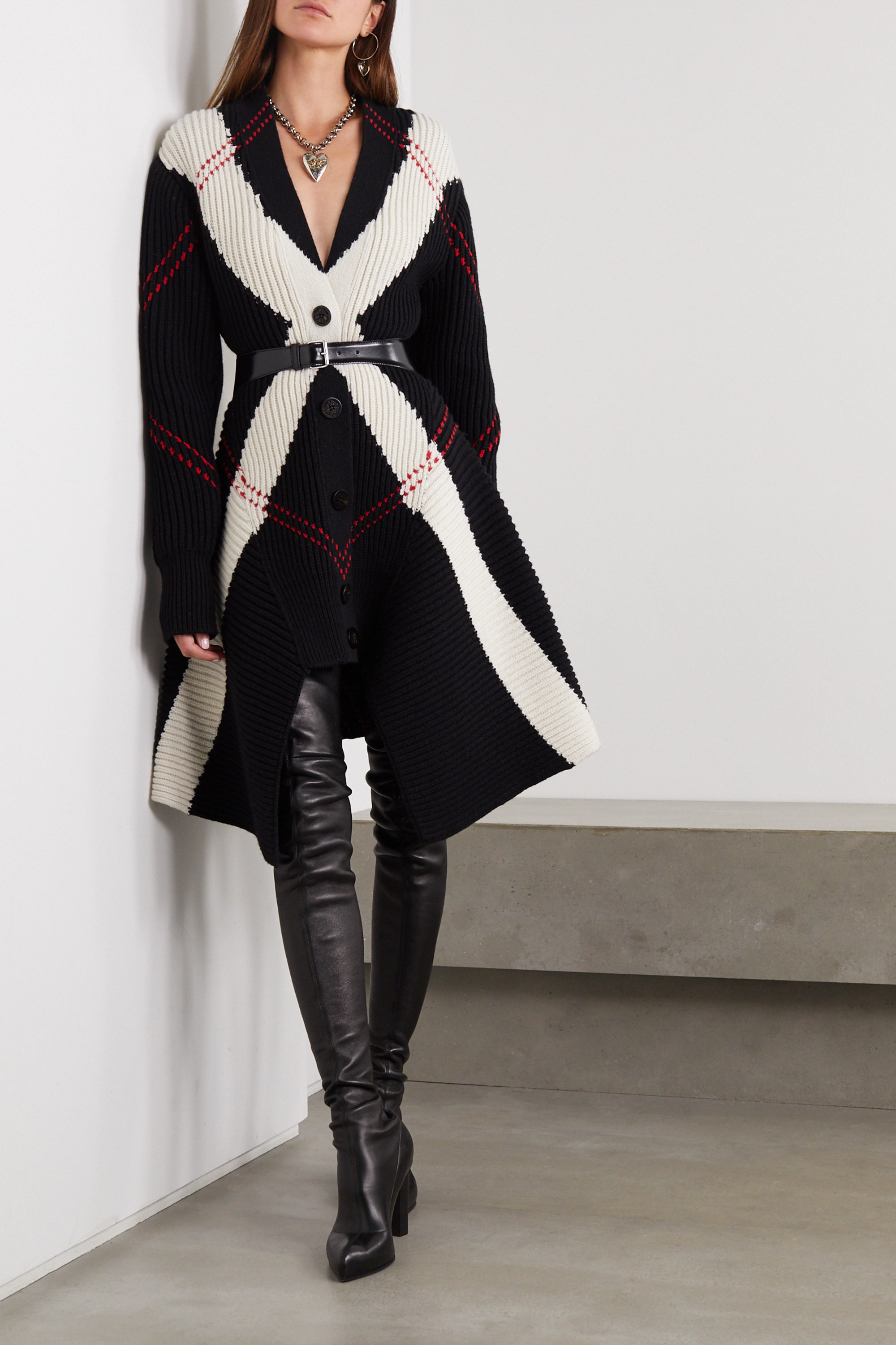 Alexander McQueen Asymmetric argyle ribbed wool and cashmere-blend cardigan