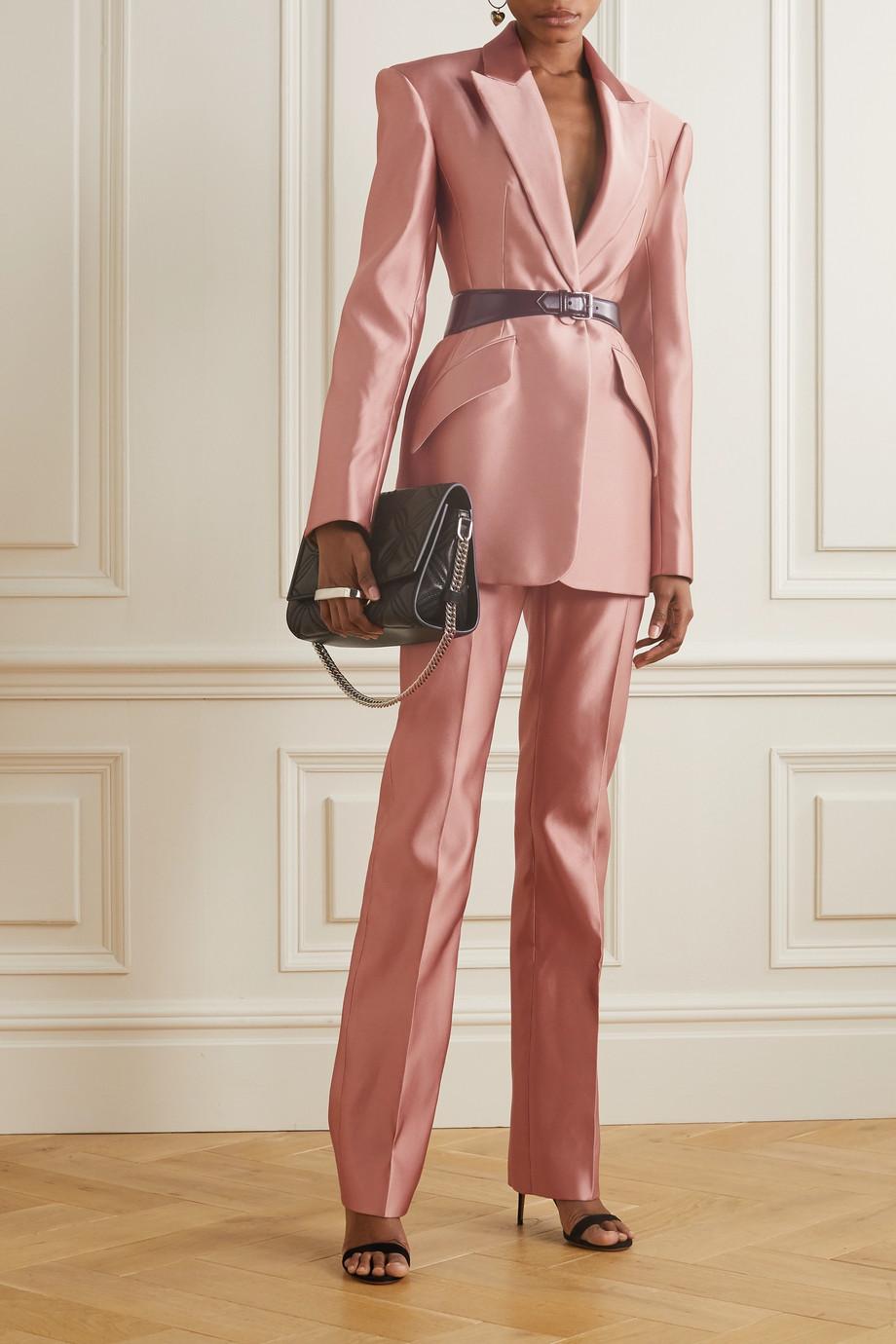 Alexander McQueen Pantalon droit en satin de soie duchesse