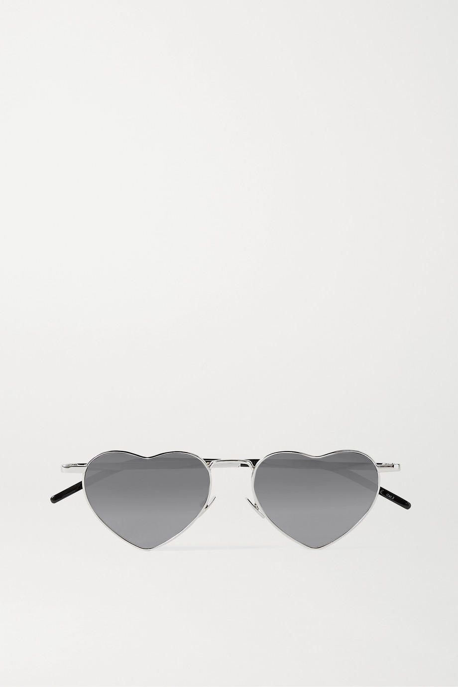 SAINT LAURENT Loulou heart-shaped silver-tone mirrored sunglasses