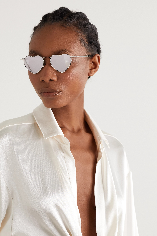 SAINT LAURENT Loulou heart-shaped silver-tone mirrored sunglasses