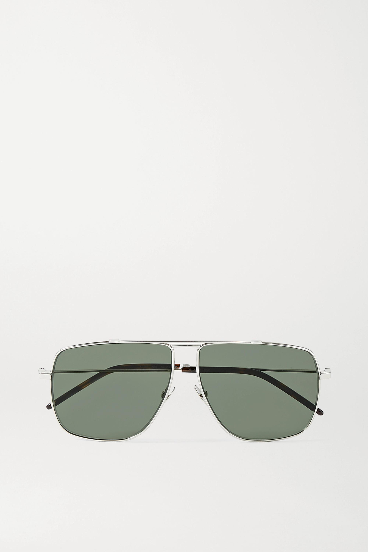 SAINT LAURENT Silberfarbene Oversized-Pilotensonnenbrille aus Azetat in Hornoptik