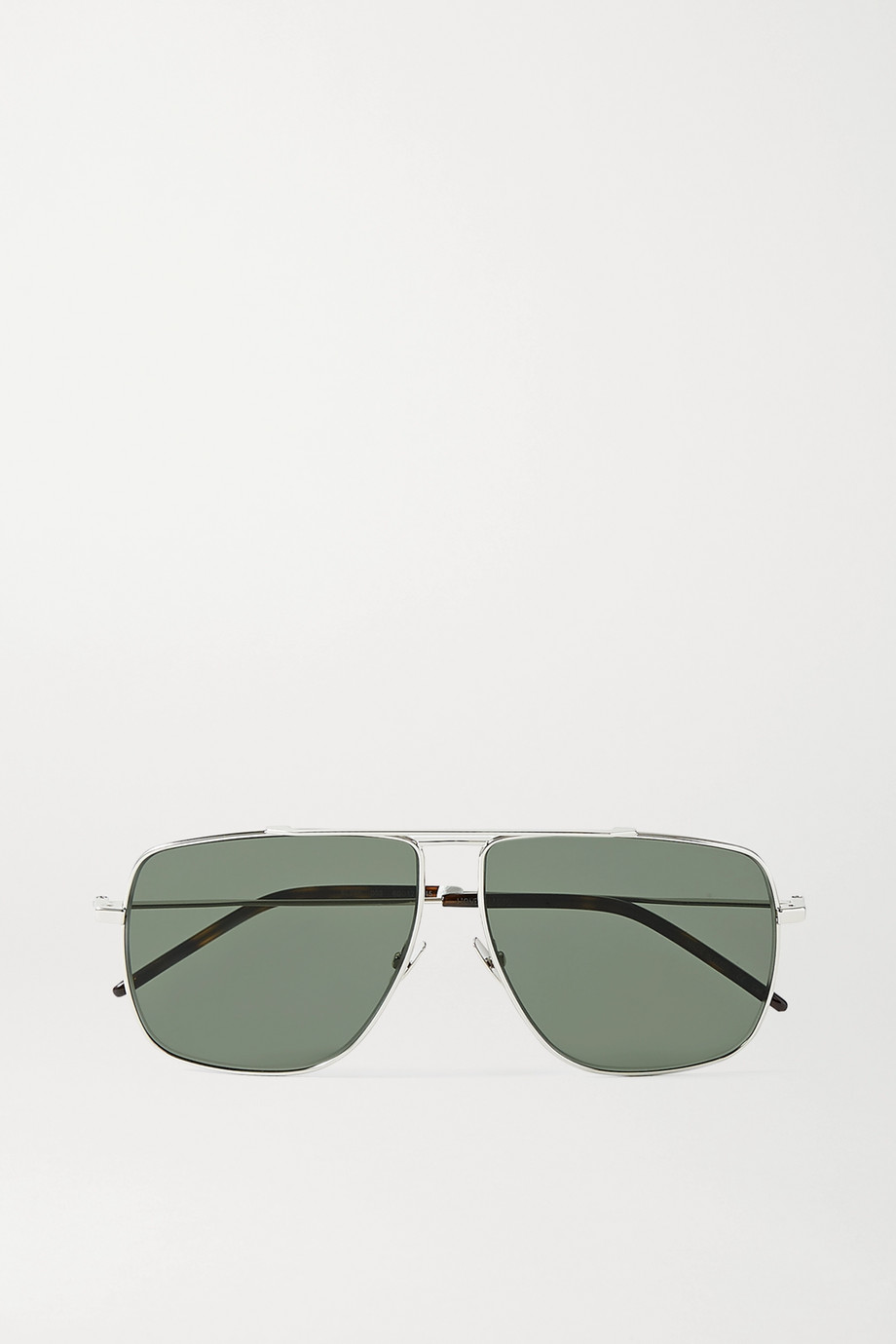 SAINT LAURENT Oversized aviator-style silver-tone and tortoiseshell acetate sunglasses