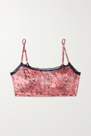 Morgan Lane Noelle lace-trimmed floral-print silk-blend satin soft-cup bralette