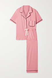 Morgan Lane Katelyn Chantal piped stretch-jersey pajama set