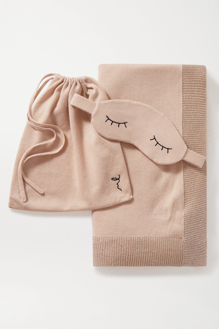 Morgan Lane Embroidered metallic cotton and cashmere-blend eye mask and blanket set
