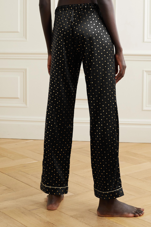 Morgan Lane Chantal metallic-trimmed printed silk-blend satin pajama pants