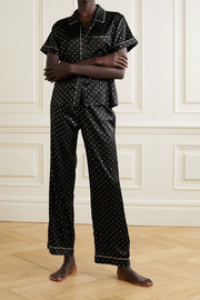 Morgan Lane Chantal metallic-trimmed printed silk-blend satin pajama pants
