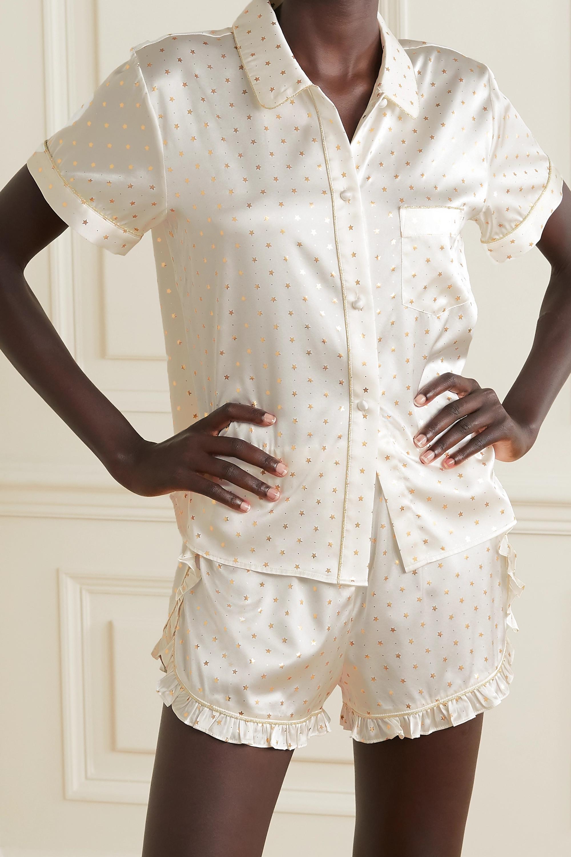 Morgan Lane Esti ruffled metallic-trimmed printed silk-blend satin pajama shorts
