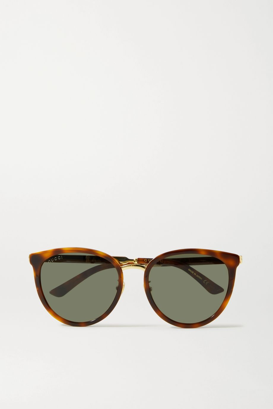 Gucci Cat-eye tortoiseshell acetate and gold-tone sunglasses