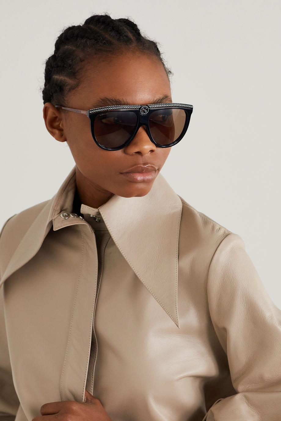 Gucci D-frame crystal-embellished acetate sunglasses