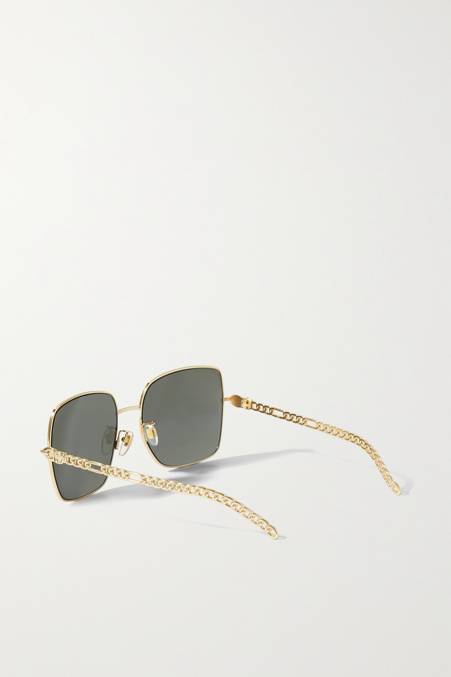 Gucci Oversized square-frame embellished gold-tone sunglasses