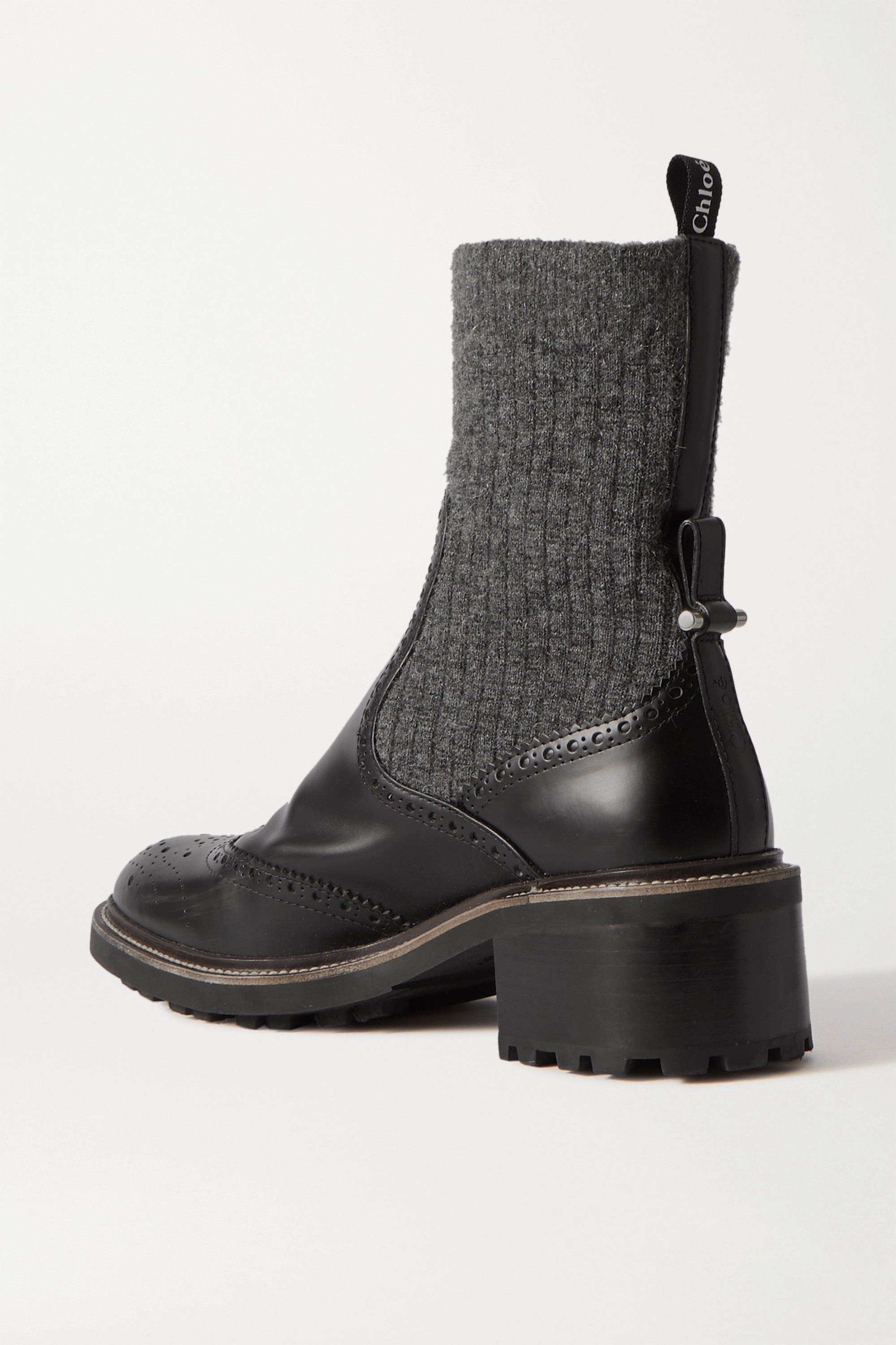 Chloé Franne ribbed wool and leather ankle boots