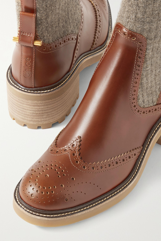 Chloé Franne Chelsea Boots aus Leder und gerippter Wolle