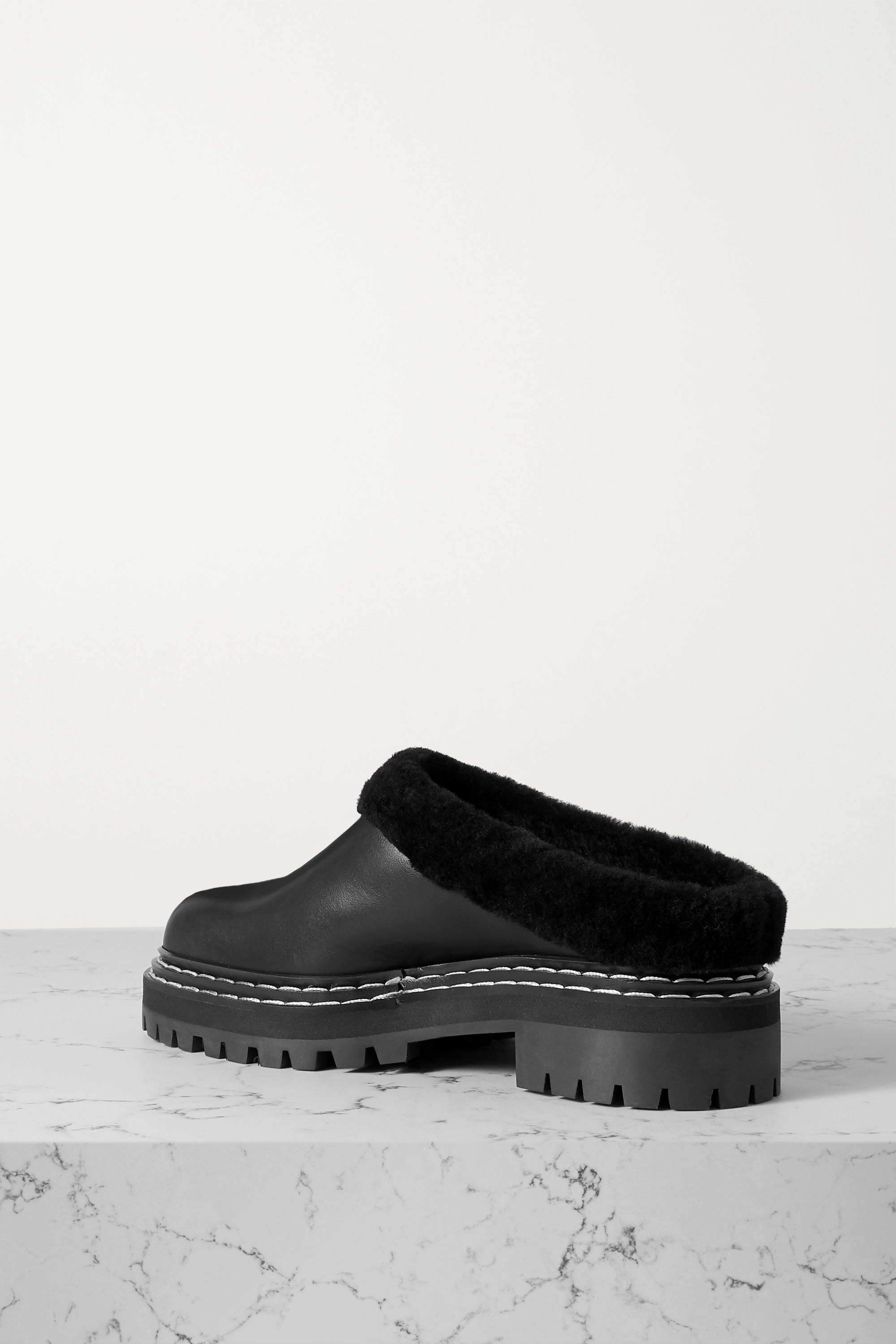 Proenza Schouler Shearling-lined leather mules