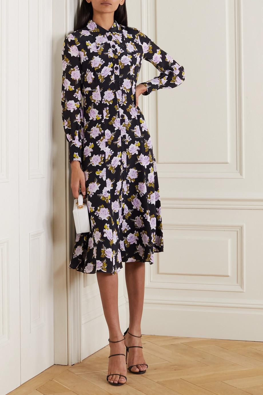 Erdem Penley Midi-Hemdblusenkleid aus Seiden-Crêpe mit Blumenprint