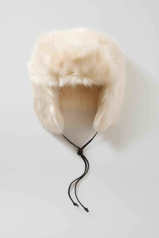 Eugenia Kim Owen Hut aus Faux Fur mit Lederbesatz