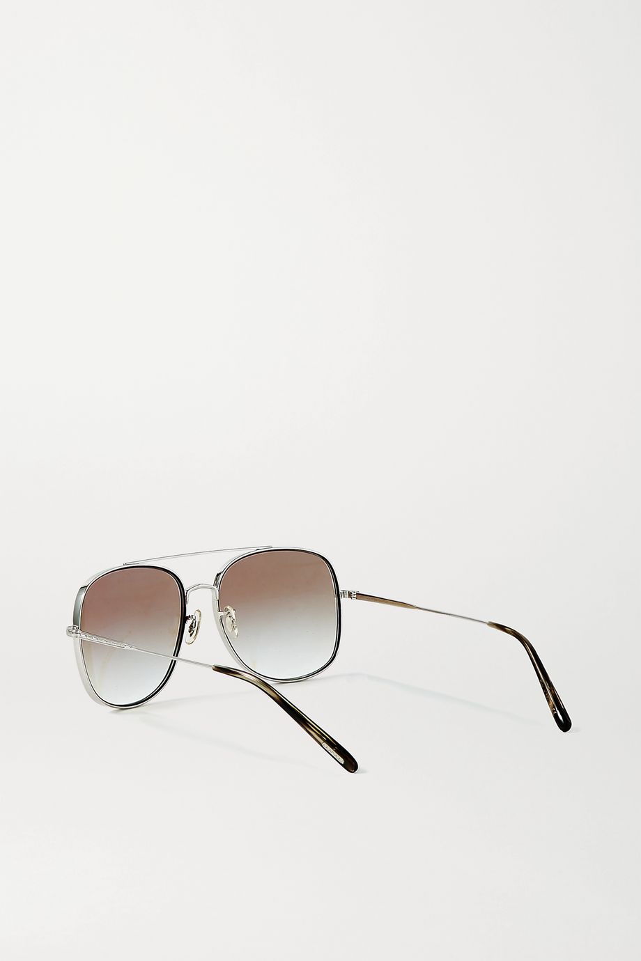 Oliver Peoples Taron aviator-style silver-tone sunglasses
