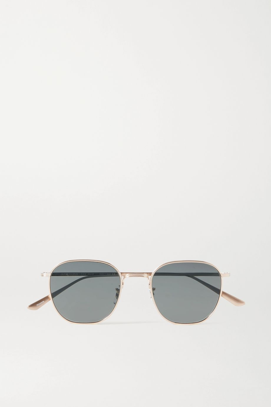 The Row + Oliver Peoples Board Meeting 2 goldfarbene Sonnenbrille mit rundem Rahmen